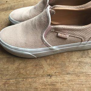 d80bf54d15 Vans Shoes - Vans perforated rose gold suede Asher slip on 7